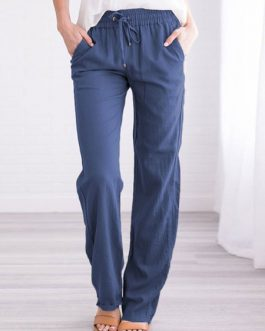 Drawstring Straight Elastic Waist Polyester Trousers Pants