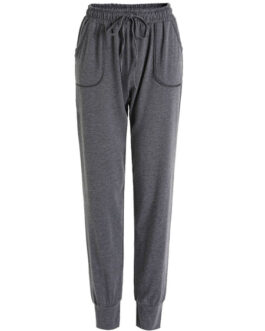 Drawstring Tapered Fit Casual Polyester Trousers Sweatpants