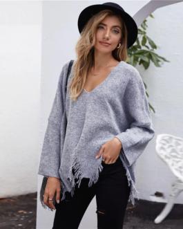 Drop Shoulder V-neck Asymmetrical Ripped Hem Sweater