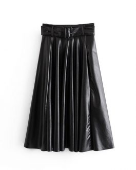 Elegant Tie Belt High Waist Long Pleated Skirts