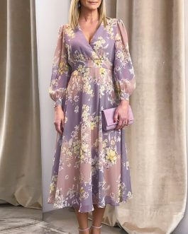 Elegant V-neck long sleeve flower dress