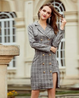 Elegant plaid double breasted belt dress