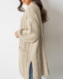 Elegant v-neck long sleeve knitted sweater