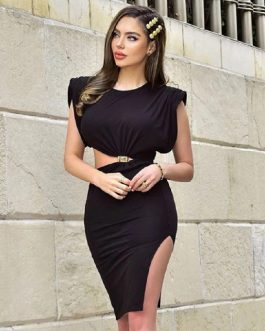 Fashion Club Sexy Hollow Out Draped Party Bodycon Dress