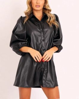 Fashion Lantern Sleeve Turn Down Collar A-line Mini Dress