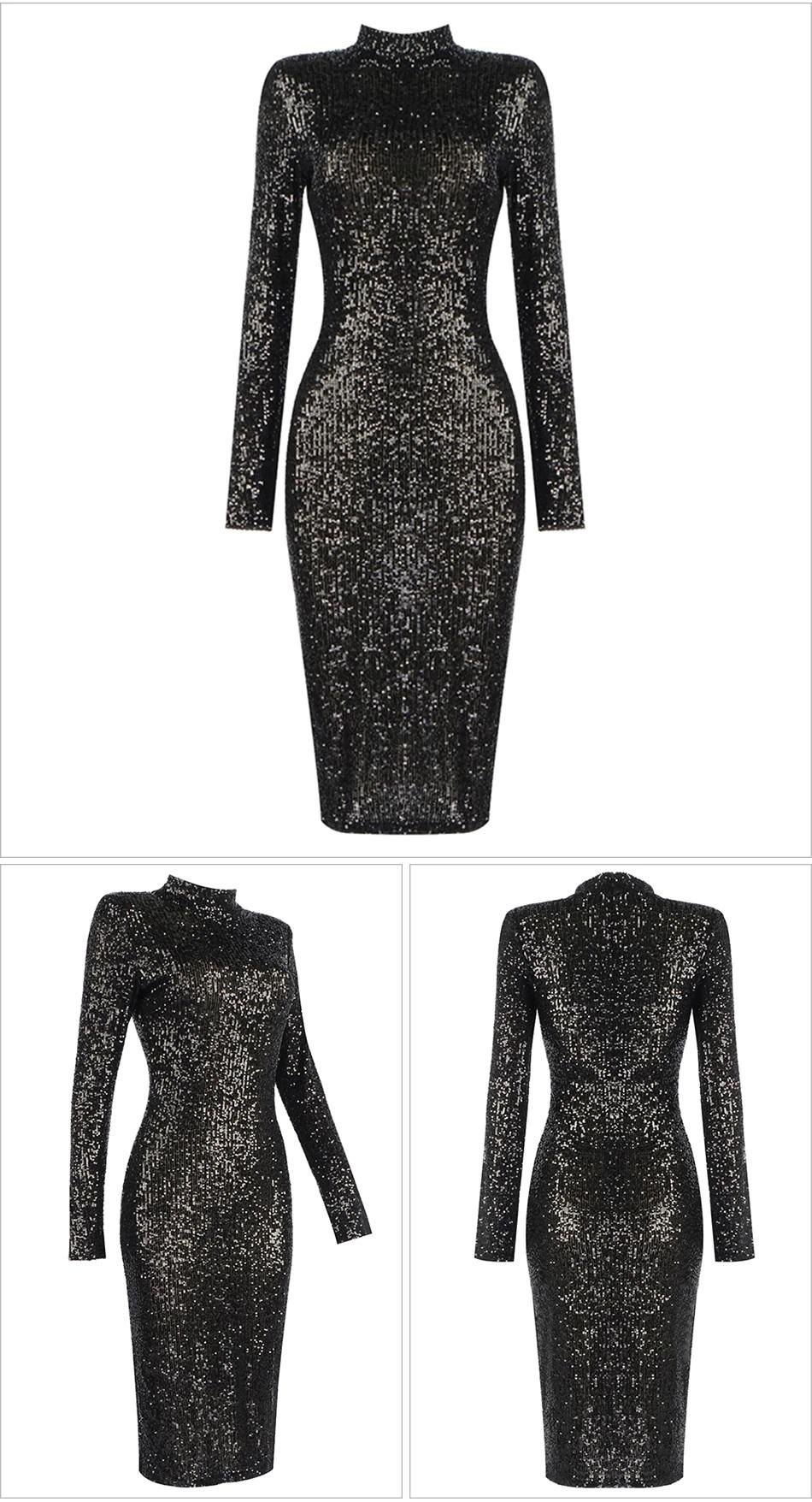 Fashion O Neck Sexy Long Sleeve Sequins Celebrity Club Dress 3