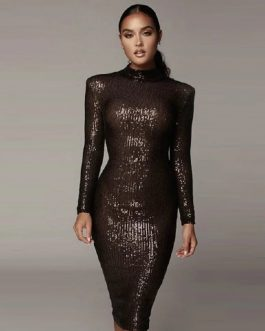 Fashion O Neck Sexy Long Sleeve Sequins Celebrity Club Dress