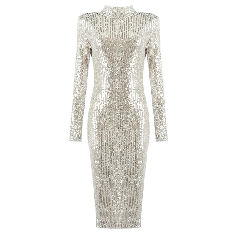 Fashion O Neck Sexy Long Sleeve Sequins Celebrity Club Dress 9