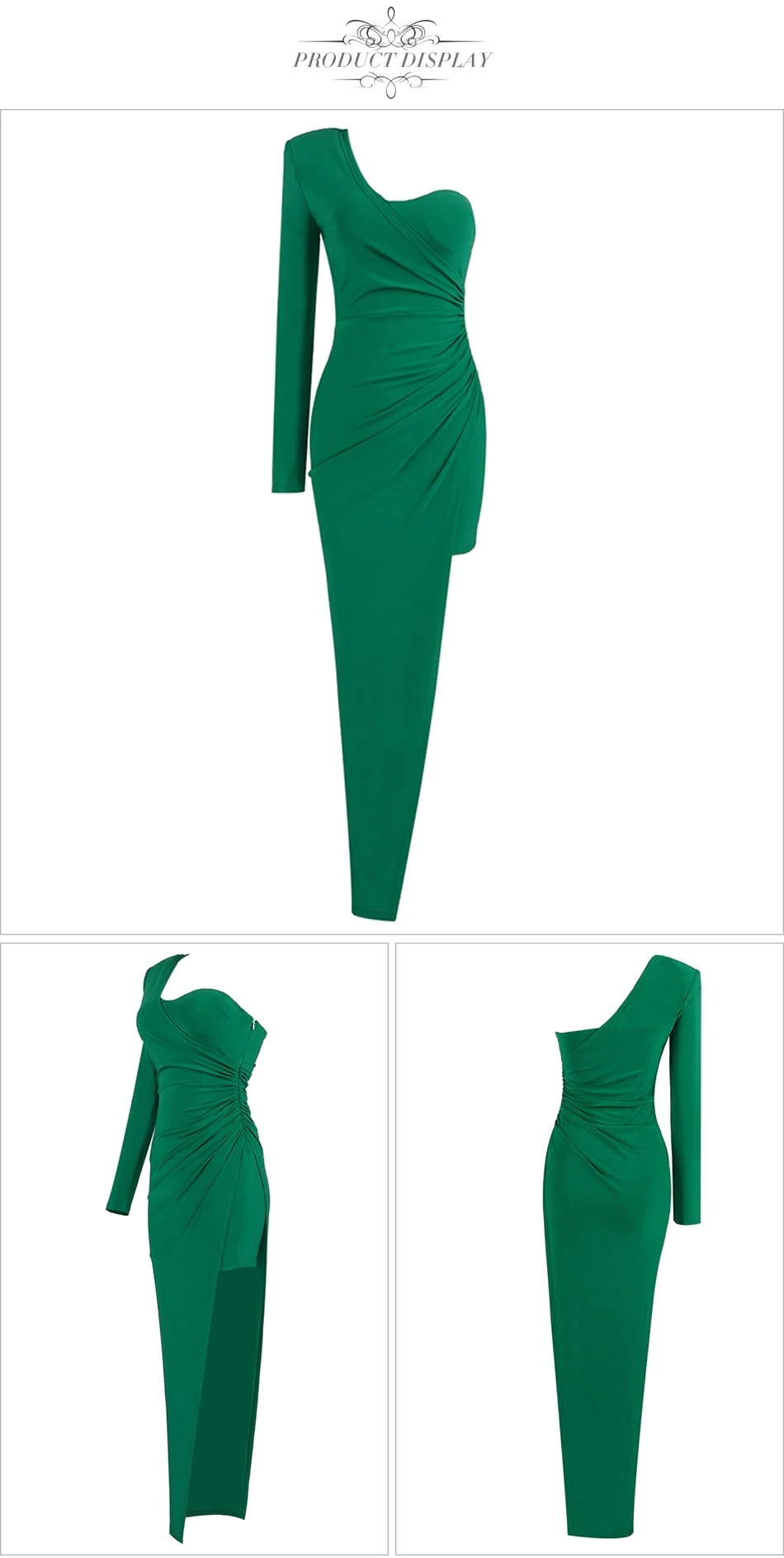 Fashion One Shoulder Draped Sexy Long Sleeve Celebrity Party Dress 2