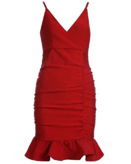 Fashion Spaghetti Strap Ruffles Evening Party Bandage Dress