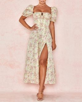 Fashion Strapless Sexy Floral Club Celebrity Midi Dresses