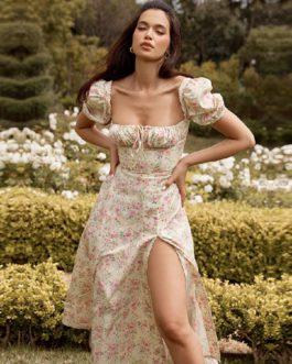 Fashion Strapless Sexy Floral Club Celebrity Midi Dresses