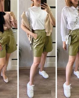 Fashionable loose leather shorts
