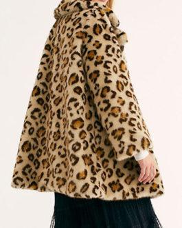 Faux Fur Long Sleeves Leopard Print Turndown Collar Coat