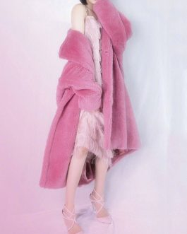 Faux Fur Turndown Collar Long Sleeve Front Button Coat