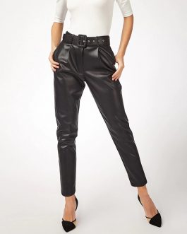 Faux Leather High Waist Pants With Belt
