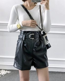 Faux Leather Pleated High Waist Shorts With Belt