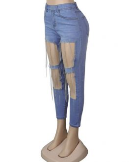 Fringe Cut Out Distressed Denim Trousers Jeans