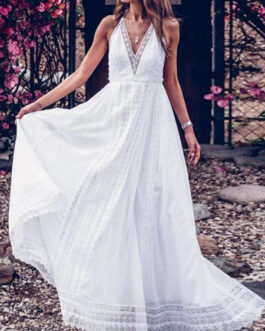 Halter Sleeveless Lace Backless Long Dress