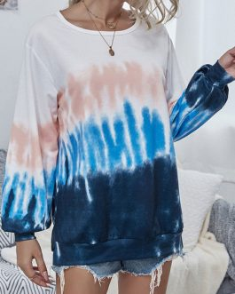 Hoodie Long Sleeves Printed Polyester Cotton Blend Tie Dye Hooded Sweatshirt