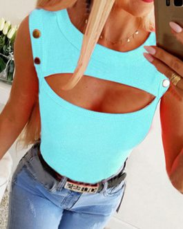 Jewel Neck Casual Cotton Blend Camis Top