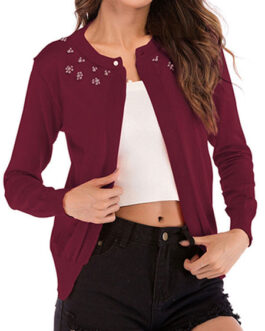 Jewel Neck Long Sleeve Studded Short Sweaters Cardigan