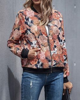 Jewel Neck Zipper Color Block Floral Print Polyester Cotton Lightweight Jacket