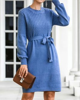 Knitted Jewel Neck Long Sleeve Lace Up Sweater Dresses