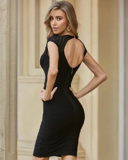 Lace Sexy Backless Celebrity Runway Club Party Bandage Dress