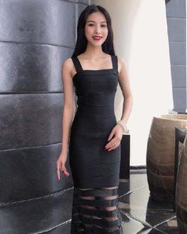 Lace Sexy Spaghetti Strap Hollow Out Club Bandage Dress