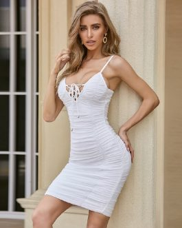 Lace Up Bandage Sexy Spaghetti Strap Celebrity Bodycon Dress