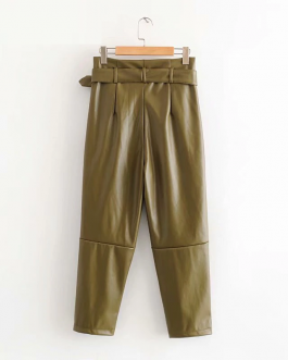 Leisure British leather straight pants