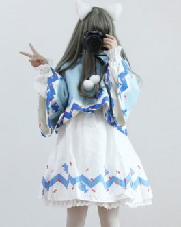 Lolita Cape Coat Shark Hooded Pom Poms Outerwear