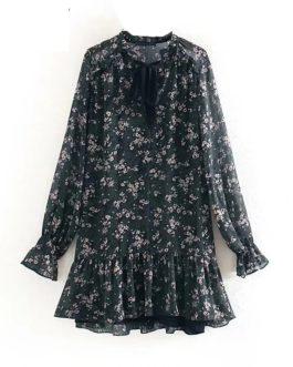 Long Sleeve Casual Loose Pleated Mini Dress