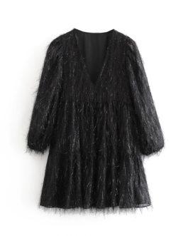 Long Sleeve V Neck Solid Tassel Party Mini Dress