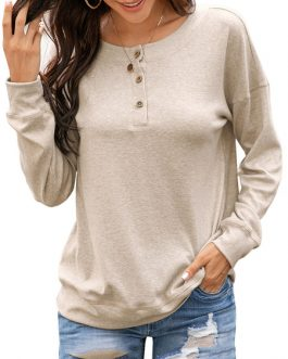 Long Sleeves Buttons Polyester Hooded Sweatshirt