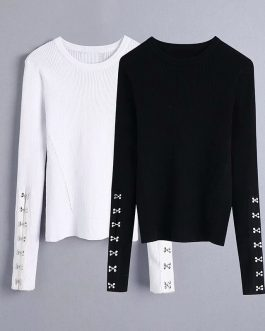 O Neck Long Sleeve Casual Pullover Sweater