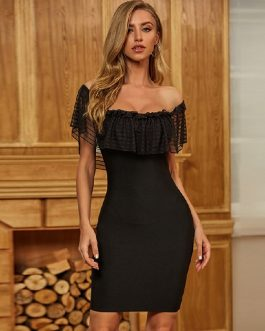 Off Shoulder Lace Sexy Celebrity Party Club Bandage Dress