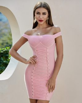 Off Shoulder Sexy Short Sleeve Celebrity Runway Party Bodycon Dress