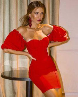 Off Shoulder Sexy Short Sleeve Mini Club Party Bandage Dress