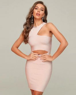 One Shoulder Sexy Hollow out Runway Party Bodycon Dress