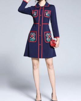 Peter Pan Collar Long Sleeve Embroidered Short Dress