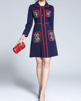 Peter Pan Collar Long Sleeve Embroidered Short Dress