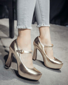 Platform Pumps Round Toe Chunky Heel PU Leather Shoes