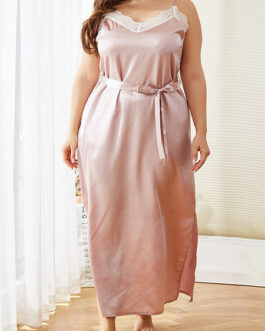 Plus Size Sleepwear Polyester Straps Neck Sleeveless Lace Split Pajama