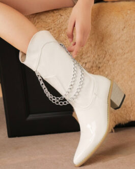 Pointed Toe PU Leather Chain Detail Zip Up Wide Mid Calf Boots