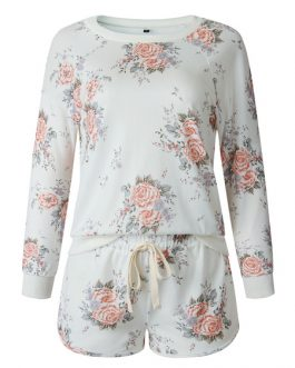 Polyester Floral Printed Casual Long Sleeves Jewel Neck Top With Drawstring Pants