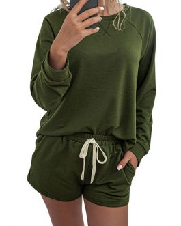 Polyester Jewel Neck Printed Casual Long Sleeves Top With Drawstring Shorts