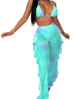 Polyester Off-The-Shoulder Tie Dye Sexy Bras With Ruffled Sheer Pants