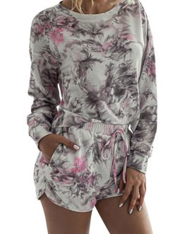 Polyester Printed Casual Long Sleeves Jewel Neck Top With Shorts